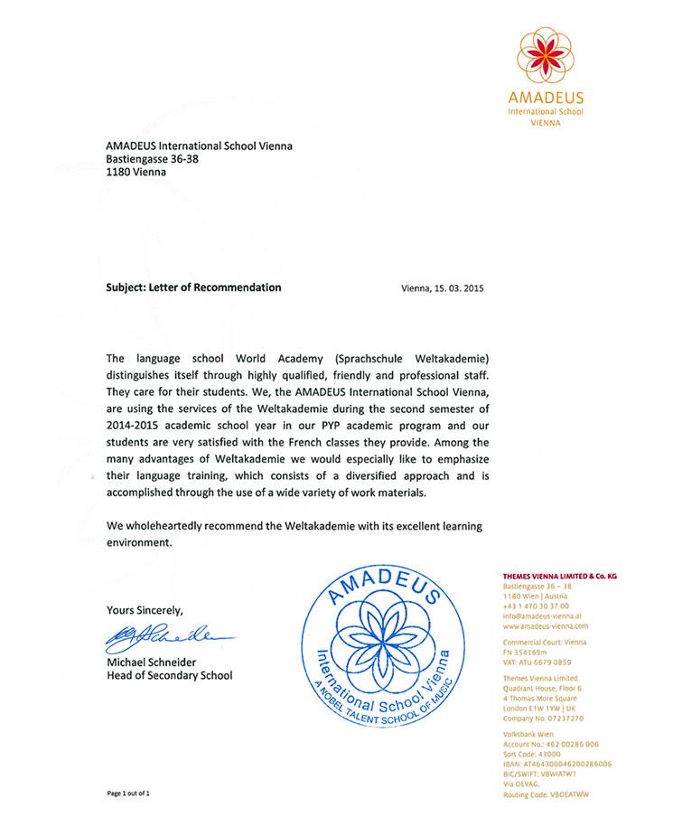 International School Amadeus lernt Sprachen bei der Weltakademie