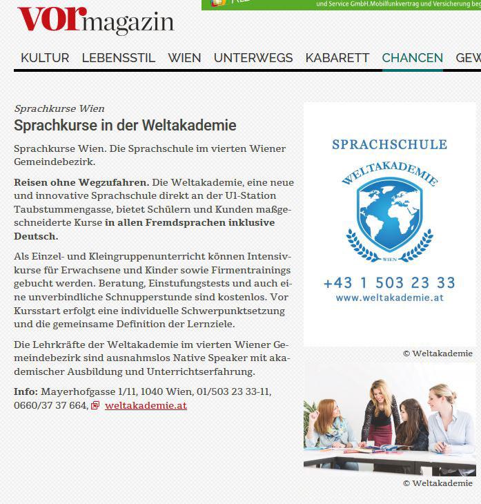 VORmagazin Sprachschule Weltakademie